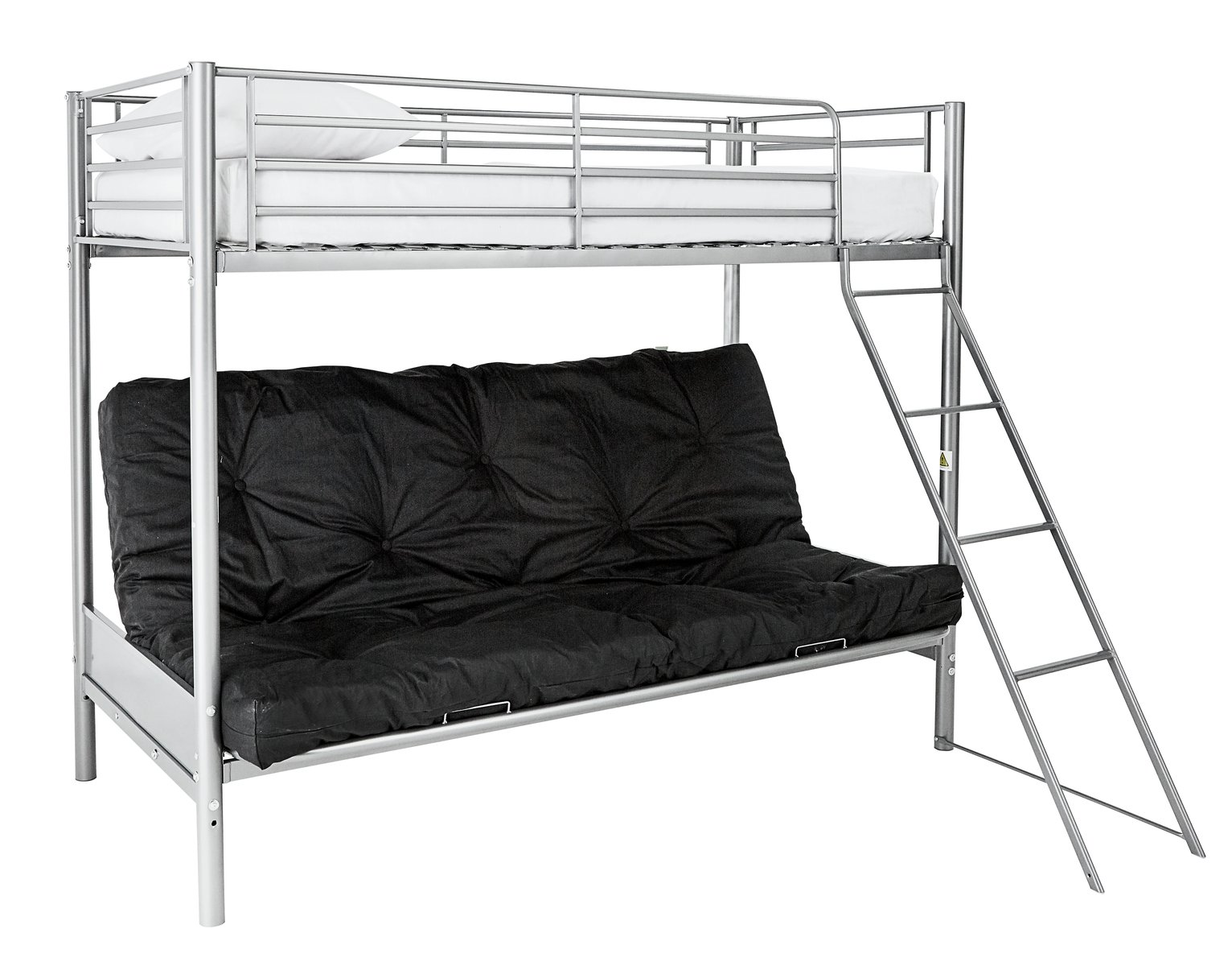 home metal futon bunk bed with kids mattress black