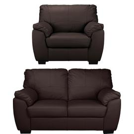 Argos Home Milano Leather Chair & 2 Seater Sofa - Chocolate