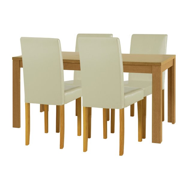 Buy Home Penley Extendable Dining Table 4 Chairs Cream At Your Online Shop For