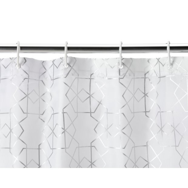 Buy Argos Home Art Deco Geometric Shower Curtain Silver Shower Curtains Argos