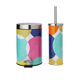 Argos Home Slow Close Bin and Toilet Brush Set - Spots