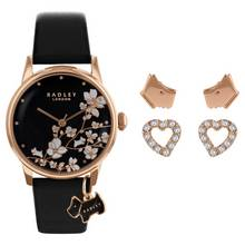 Radley Ladies Black Leather Strap Watch Gift Set
