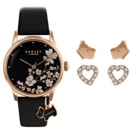 Radley Ladies Black Leather Strap Watch & Earrings Gift Set