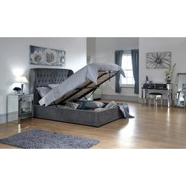 GFW Dakota Ottoman Double Bed Frame - Pewter