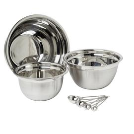 Argos Home Set of 3 Stainless Steel Mixing Bowls and Spoons