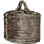 more details on HOME Large Acrylic Fur Beanbag - Black and Grey.