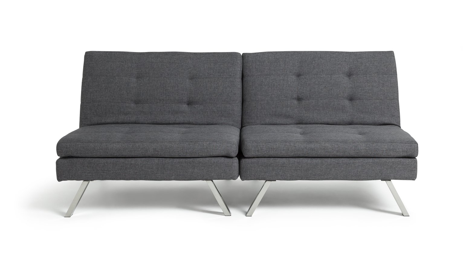 hygena duo 2 seater clic clac sofa bed charcoal
