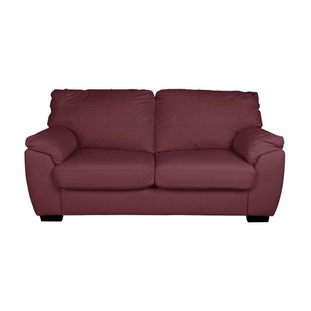 Buy Argos Home Milano 2 Seater Leather Sofa Bed Burgundy | Sofa beds | Argos