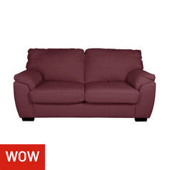 Argos Home Milano 2 Seater Leather Sofa Bed - Burgundy