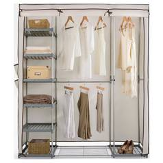 Argos Home Metal and Polycotton Triple Wardrobe - Cream