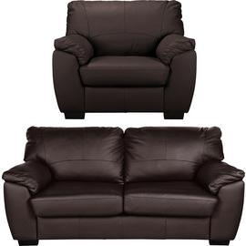 Argos Home Milano Leather Chair & 3 Seater Sofa - Chocolate