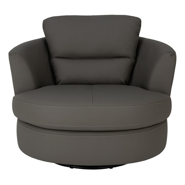Buy Argos Home New Trieste Leather Mix Swivel Chair Grey | Armchairs and chairs | Argos