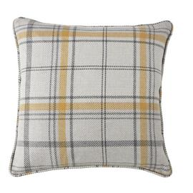 Argos Home Traditional Brushed Check Cushion - Mustard