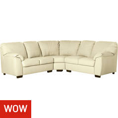 Argos Home Milano Reversible Corner Leather Sofa - Ivory