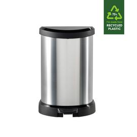 Curver Deco 20 Litre Small Kitchen Bin - Silver
