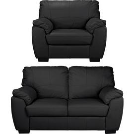 Argos Home Milano Leather Chair and 2 Seater Sofa - Black