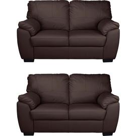 Argos Home Milano Pair of Leather 2 Seater Sofa - Chocolate
