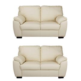 Argos Home Milano Pair of Leather 2 Seater Sofa - Ivory