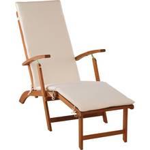 Argos Home Wooden Sun Lounger with Cushion - Cream