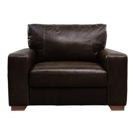 Argos Home Eton Leather Cuddle Chair - Dark Brown