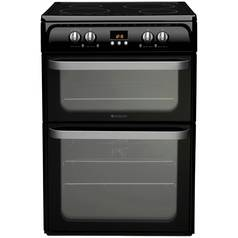 Hotpoint Ultima HUI614 K 60cm Double Electric Cooker - Black