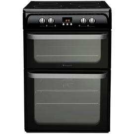 Hotpoint Ultima HUI614 K 60cm Double Electric Cooker - Black Best Price, Cheapest Prices
