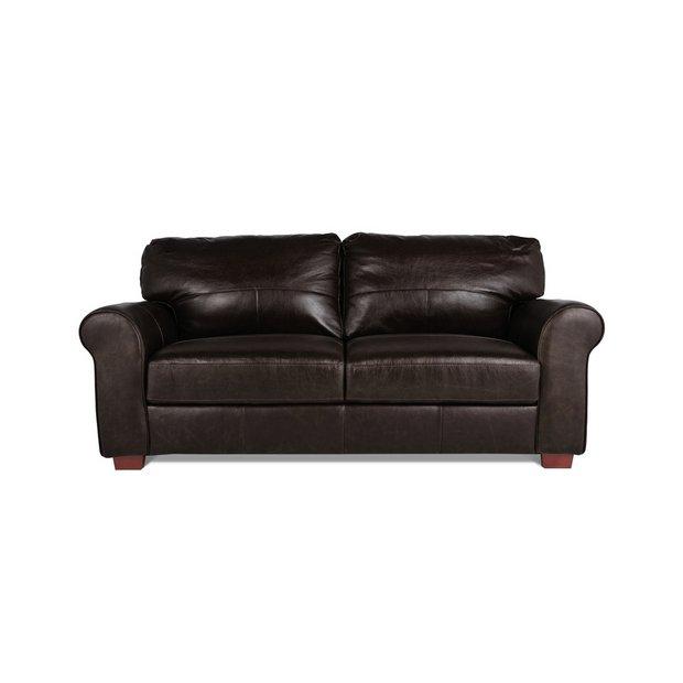 Buy Argos Home Salisbury 3 Seater Leather Sofa - Dark Brown   Sofas ...