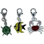 more details on Link Up S.Silver Turtle, Fish and Crab Clip-On Charms - 3.