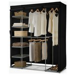more details on HOME Metal and Polycotton Triple Wardrobe - Black.