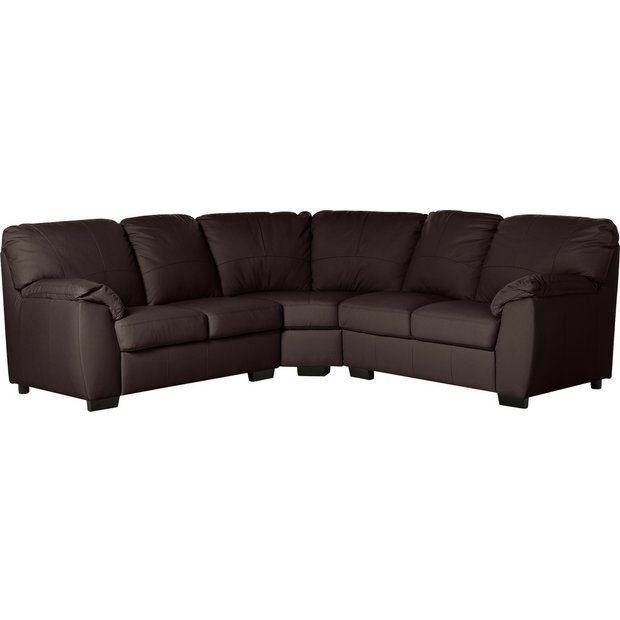 Buy Argos Home Milano Corner Leather Sofa - Chocolate | Sofas | Argos