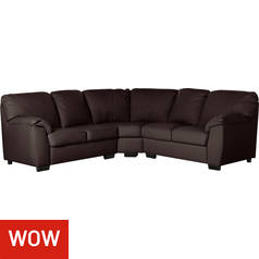 Argos Home Milano Reversible Corner Leather Sofa - Chocolate