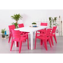 Futura Pink and White 6 Seater Patio Set