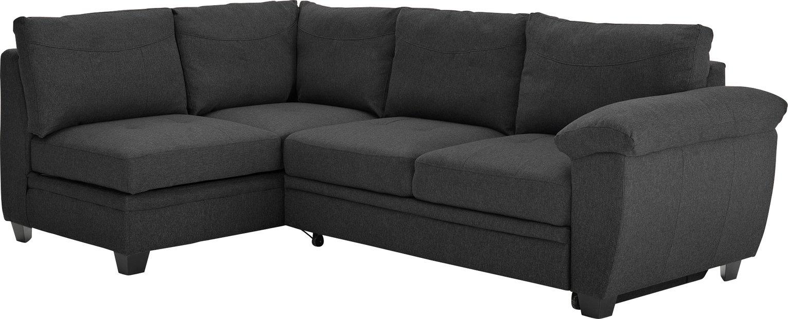 corner sofa bed. Collection Fernando Fabric Left Corner Sofa Bed - Charcoal