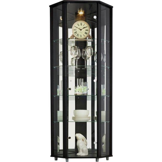 Argos Home 1 Glass Door Corner Display Cabinet Black Cabinets And