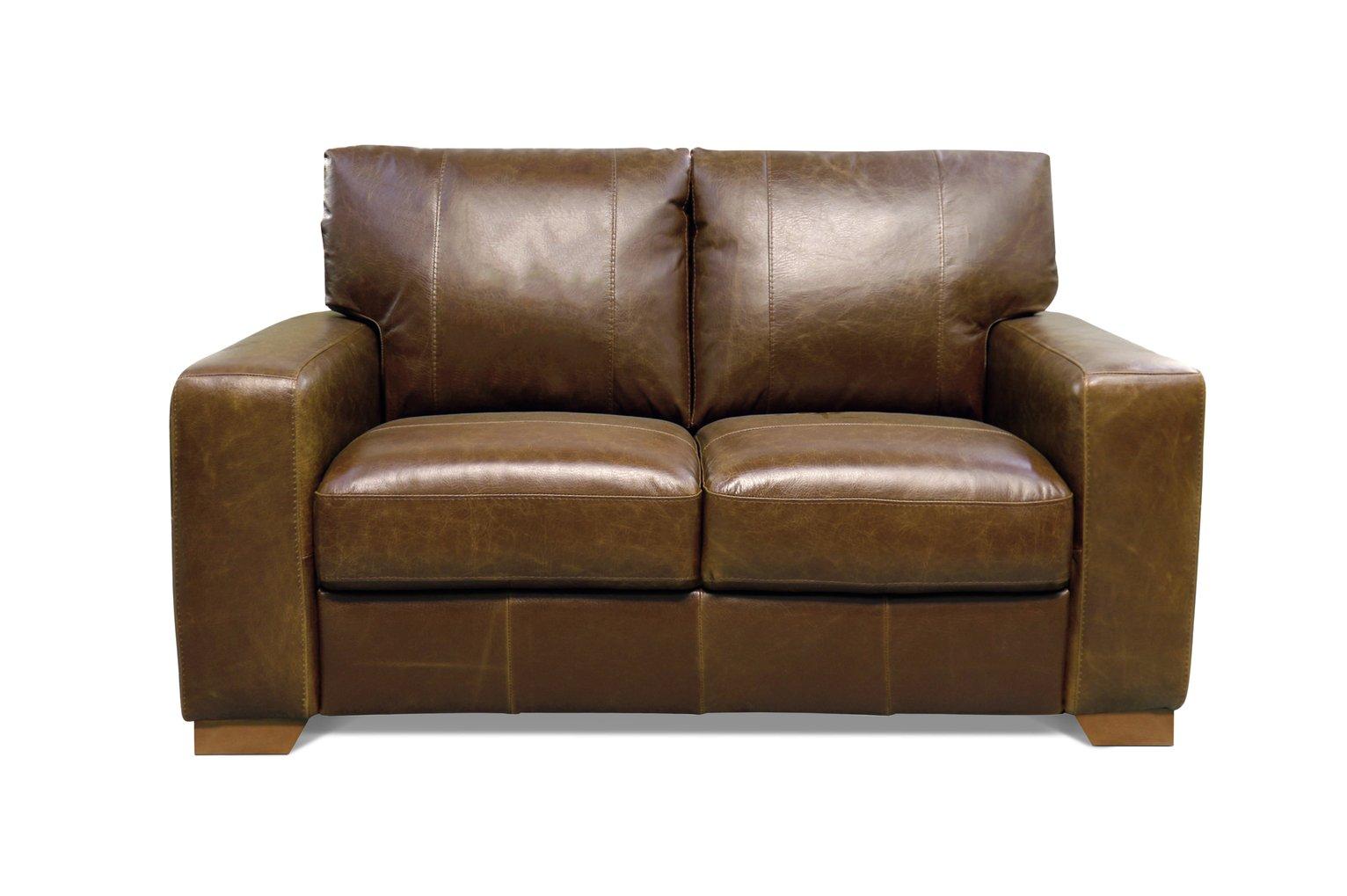 heart of house eton 2 seater leather sofa tan