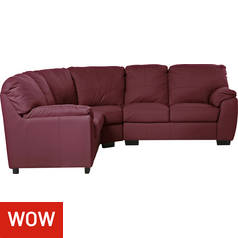 Argos Home Milano Reversible Corner Leather Sofa - Burgundy