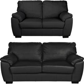 Argos Home Milano Leather 2 Seater and 3 Seater Sofa - Black