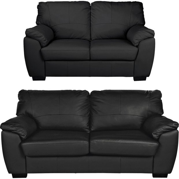 Buy Argos Home Milano Leather 2 Seater and 3 Seater Sofa - Black | Sofa  sets | Argos