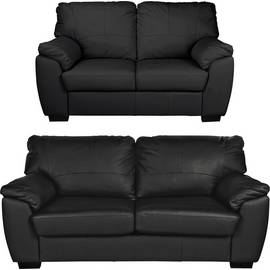 ae85f26cfac2 Argos Home Milano Leather 2 Seater and 3 Seater Sofa - Black