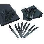 more details on Cutlery, Napkins and Table Cloth Set - Black.