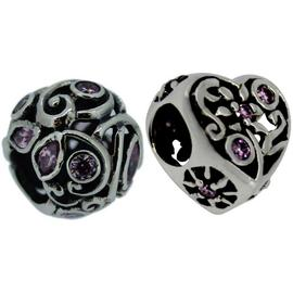 Link Up S.Silver Pink Crystal Filigree Bead Charms - 2.