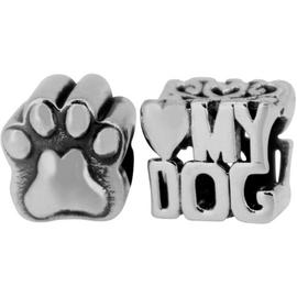 Link Up Sterling Silver Love My Dog Charms - Set of 2.