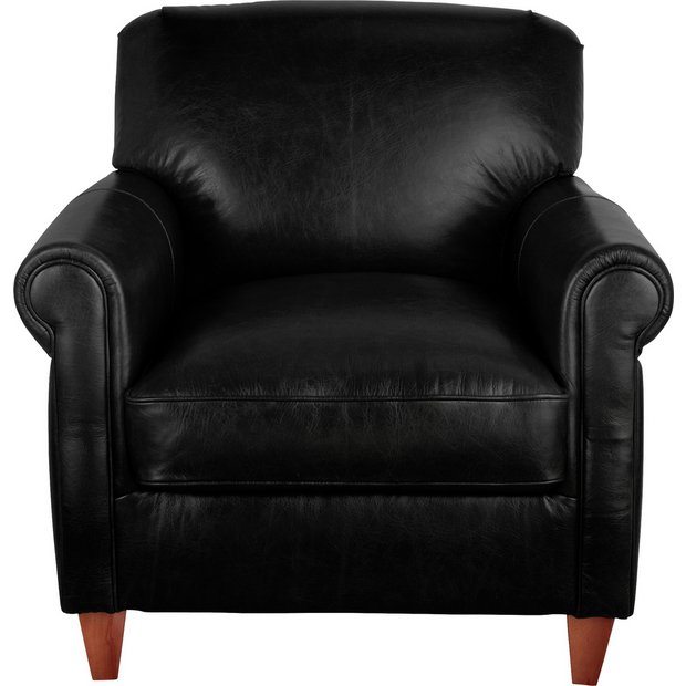 Buy Argos Home Kingsley Leather Accent Chair Black | Armchairs and chairs | Argos