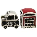more details on Link Up S.Silver London Cab and Phone Box Charms - Set of 2.