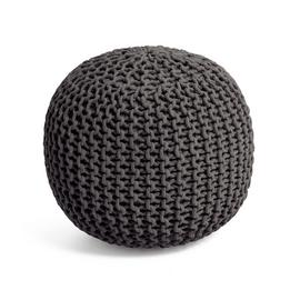 Argos Home Dottie Cotton Knitted Pod Footstool - Charcoal