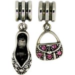 more details on Link Up S.Silver High Heel/Handbag Drop Charms - Set of 2