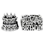 more details on Link Up S.Silver Cake and Happy Birthday Charms - Set of 2.