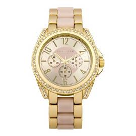 Identity Ladies Gold Tone with Pink Inlay Bracelet Watch