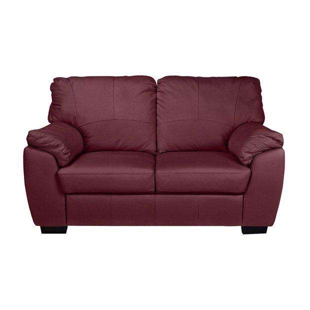 Buy Argos Home Milano 2 Seater Leather Sofa Burgundy | Sofas | Argos