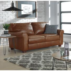 Argos Home Salisbury 3 Seater Leather Sofa - Tan